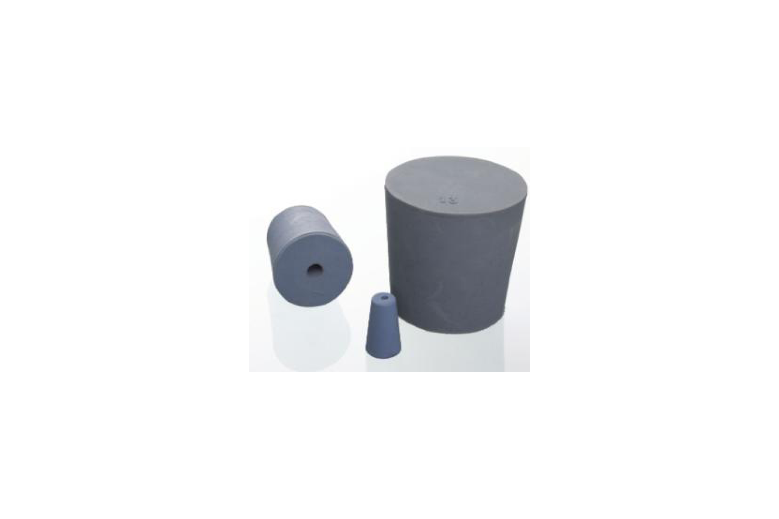 Conical stoppers made of grey-blue natural rubber